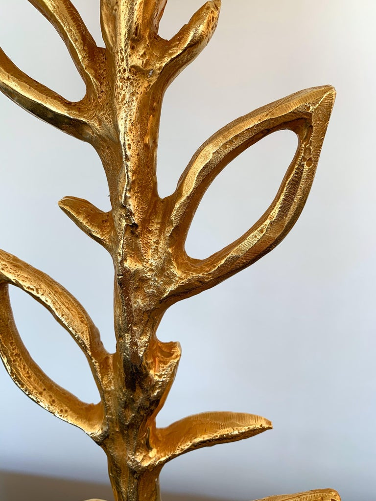 Pair of bedside or table lamps gilt metal style bronze model plant by the artist Stephane Galerneau. Sign on the base Galerneau Paris. Height top of sculpture 43 cms. He is one of the artist who have worked for Fondica like Mathias, Pierre Casenove,