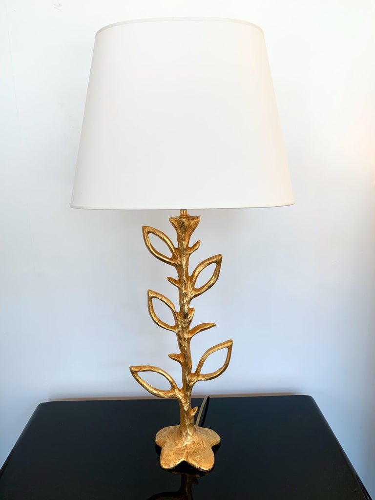 Late 20th Century Pair of Gilt Bronze Plant Lamps by Stephane Galerneau, France, 1990s For Sale