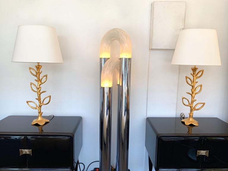 Pair of Gilt Bronze Plant Lamps by Stephane Galerneau, France, 1990s For Sale 2