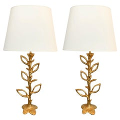 Pair of Gilt Bronze Plant Lamps by Stephane Galerneau, France, 1990s