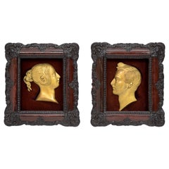 Pair of Gilt-Bronze Profile Portraits of Queen Victoria and Prince Prince Albert