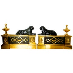 Pair of Gilt Bronze Regency Firedogs, Thomas Hope Attributed England, circa 1803