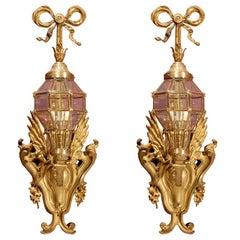 Pair of Gilt Bronze Sconces with Lanterns