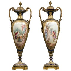 Pair of Gilt-Bronze Sèvres Style Porcelain Vases and Covers
