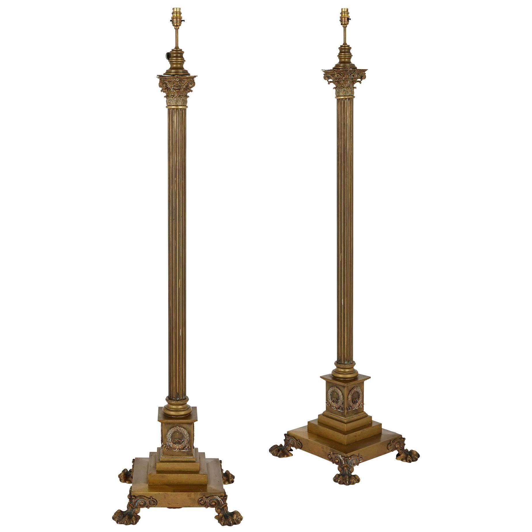 Pair of Gilt Bronze Standing Floor Lamps
