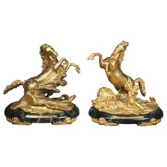 Pair of Gilt Bronze Table Sea Horses on Marble, by E.F. Caldwell, circa 1900