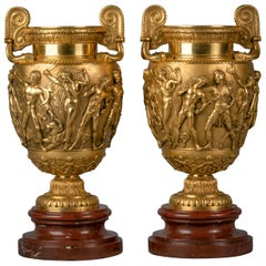 Pair of Gilt Bronze Vases on Marble Stands, circa 1870