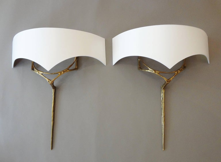Polished Pair of Gilt Bronze Wall-Sconces by Félix Agostini, circa 1955 For Sale