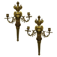 Pair of Gilt Bronze Wall Sconces Depicting Kings