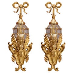 Pair of Gilt Bronzes Sconces with Lanterns