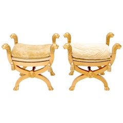 Pair of Gilt Carved Wood X-Bases Benches with Lion Head Finials