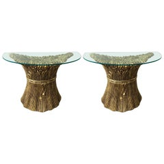 Pair of Gilt Ceramic Console ears of wheat by Panzeri. Italy, 1980s