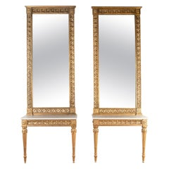 Pair of Gilt Console Tables with Mirrors