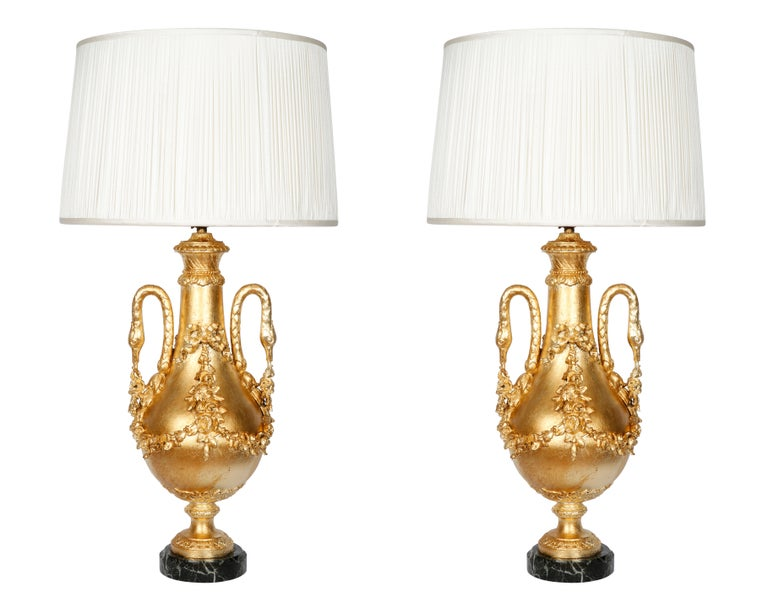 Pair of Gilt Covered Classic Baluster Lamps with Swan Neck Handles For Sale 1