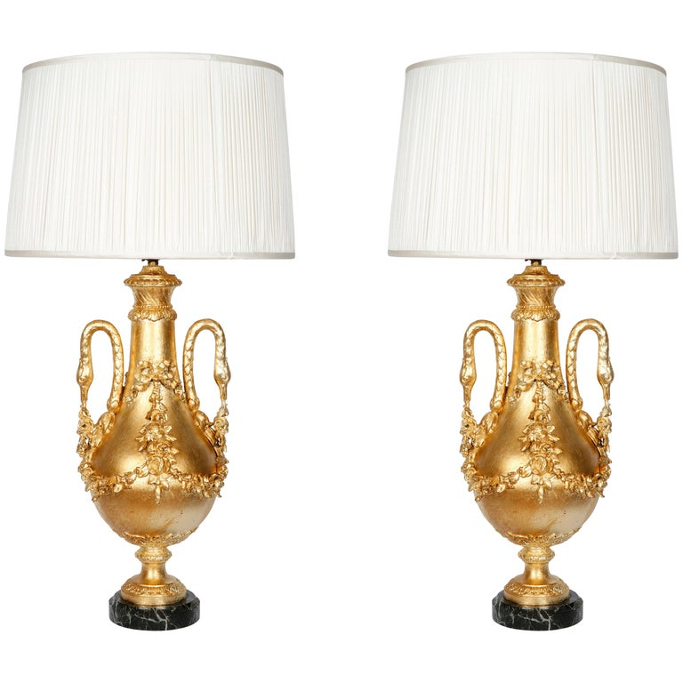 Pair of Gilt Covered Classic Baluster Lamps with Swan Neck Handles For Sale