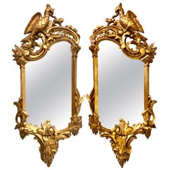 Pair of Gilt Eagle Crested Wall or Console Mirrors Mid-Century Modern
