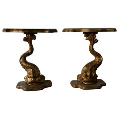 Pair of Gilt Finished Sea-Creature End Tables, Carved Wood