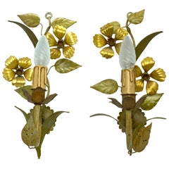 Pair of Gilt Flower and Leaf Tole Sconces Polychrome Metal, 1960s, Italy