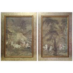 Pair of Gilt Framed Midcentury Oriental Prints