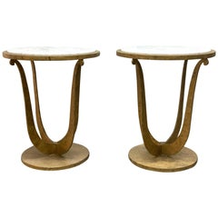 Pair of Gilt Iron and Carrara Marble-Top Gueridon Tables