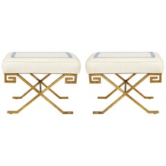 Pair of Gilt-Iron Benches in the Jean Michel Frank Manner