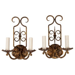 Pair of Gilt-Iron French Sconces