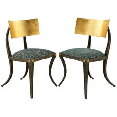 Pair of Gilt Iron Klismos Chairs by Ched Berenguer-Topacio