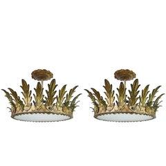 Pair of Gilt Iron Sunburst Crown Light Fixtures