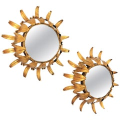 Pair of Gilt Iron Wall Sunburst Mirrors, Midcentury, Spain