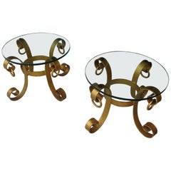 Pair of Gilt Italian Style Wrought Iron Side Tables
