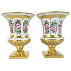 Pair of Gilt Italian Vases 20th Century Medici Crater Planters