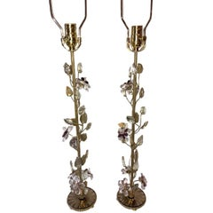 Pair of Gilt Lamps with Amethyst Flowers