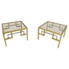 Pair of Gilt Metal and Chrome Side Tables