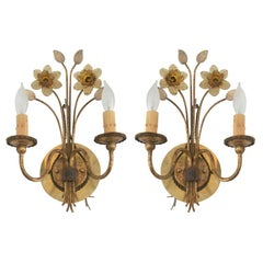 Pair of Gilt Metal and Pressed Glass Daffodil Sconces