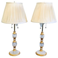 Pair of Gilt Metal and Rock Crystal Baguès Style Table Lamps