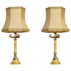 Pair of Gilt Metal and Sienna Marble Table Lamps