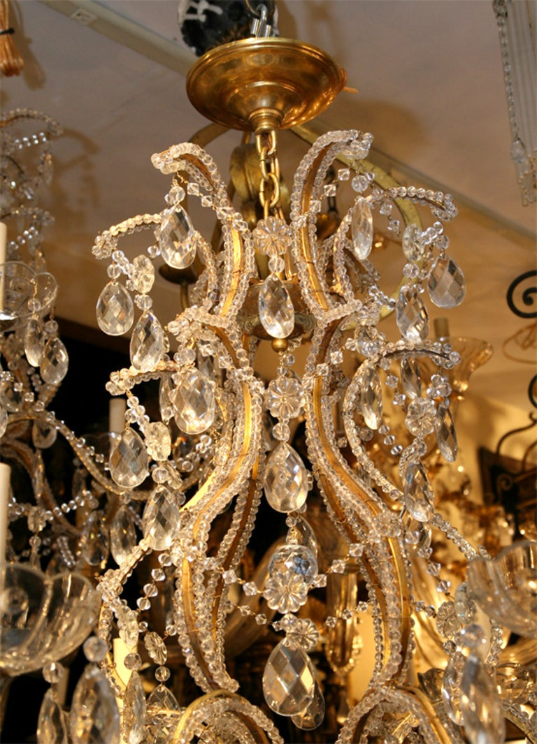 French Pair of Gilt Metal Chandeliers with Crystals, Sold Individually For Sale