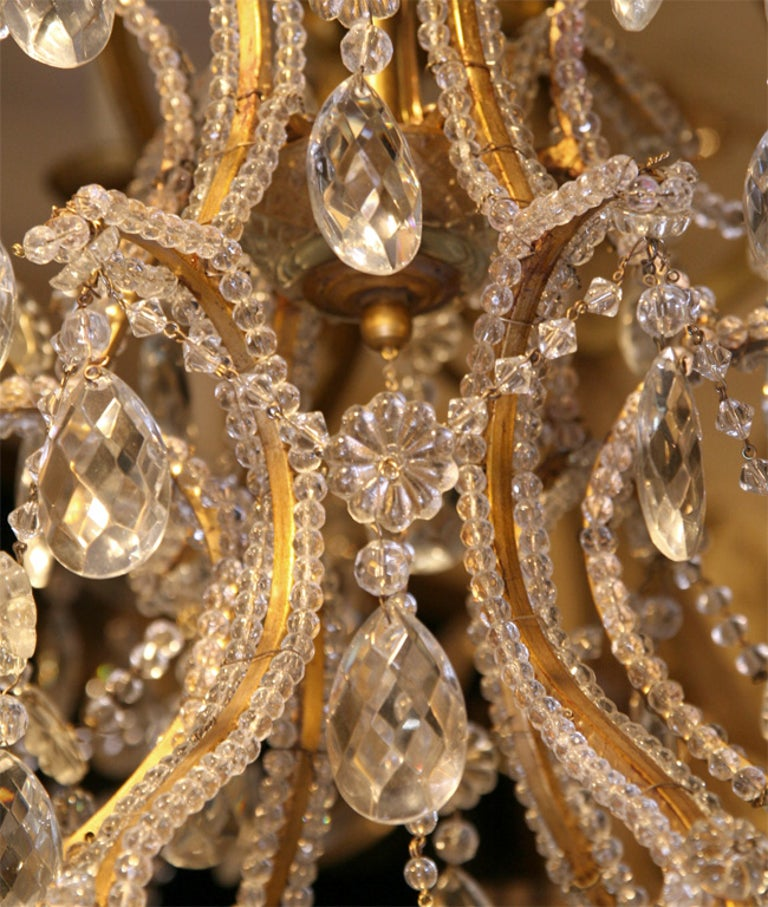 Pair of Gilt Metal Chandeliers with Crystals, Sold Individually In Good Condition For Sale In New York, NY