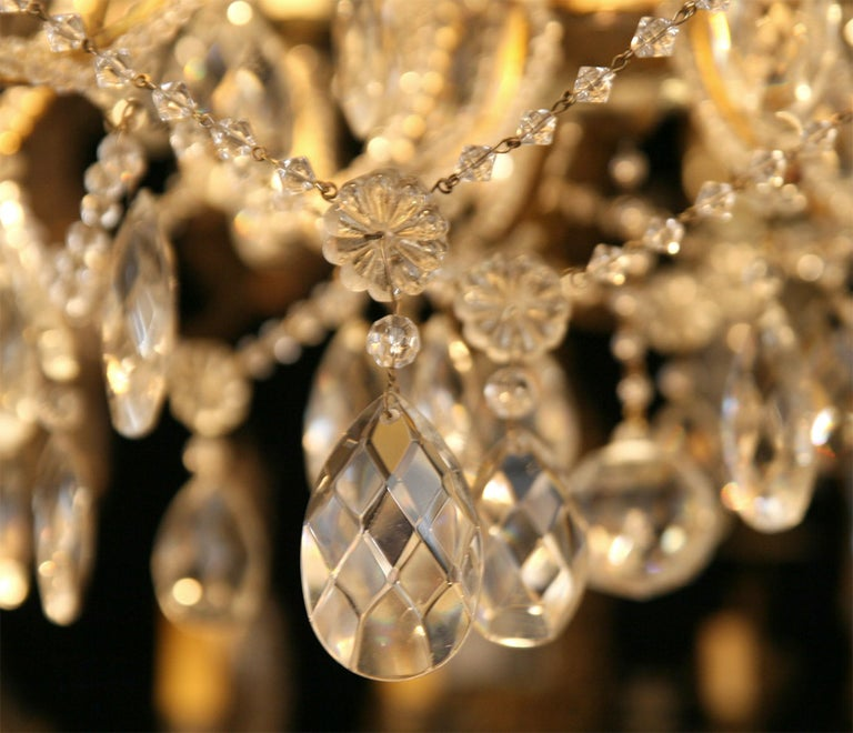 Mid-20th Century Pair of Gilt Metal Chandeliers with Crystals, Sold Individually For Sale