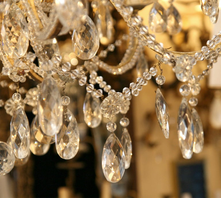 Pair of Gilt Metal Chandeliers with Crystals, Sold Individually For Sale 1