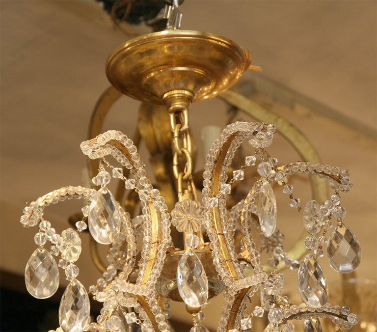 Pair of Gilt Metal Chandeliers with Crystals, Sold Individually For Sale 2