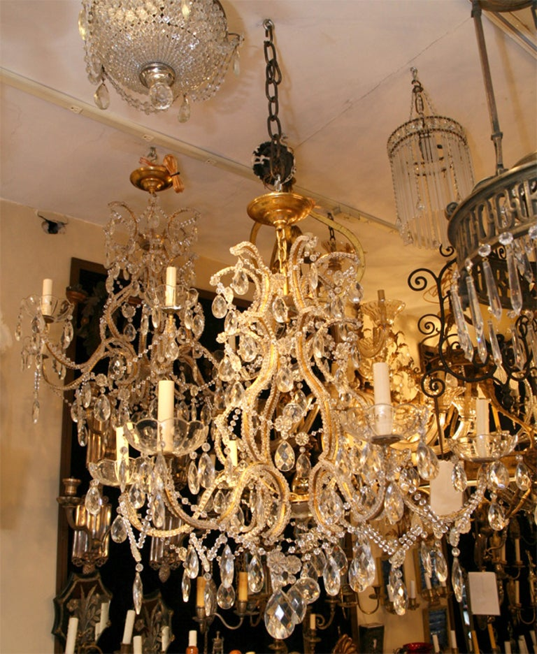 Pair of Gilt Metal Chandeliers with Crystals, Sold Individually For Sale 3