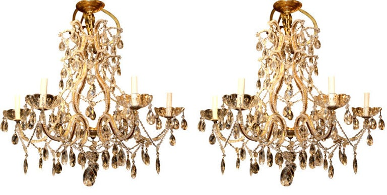 Pair of Gilt Metal Chandeliers with Crystals, Sold Individually For Sale 4