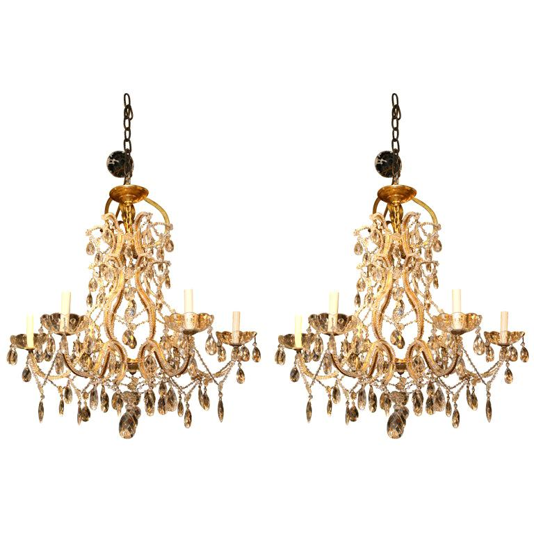 Pair of Gilt Metal Chandeliers with Crystals, Sold Individually For Sale