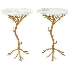 Pair of Gilt Metal Faux Bois Side Tables with Marble Top