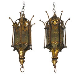 Pair of Gilt Metal Lanterns, Sold Individually