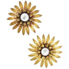 Pair of Gilt Metal Sunburst Wall Lights / Flush Mounts, Midcentury, Leaf Motif