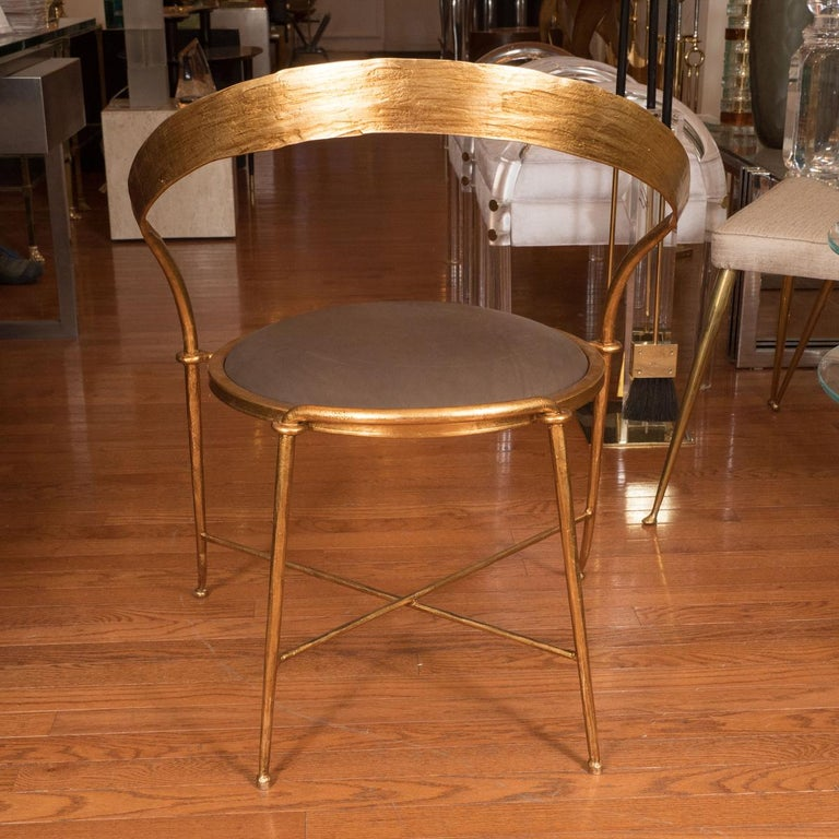 Italian Pair of Gilt Metal, Sculptural Chairs For Sale