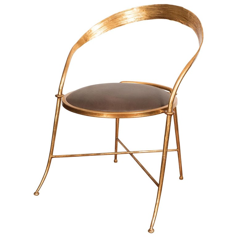 Pair of Gilt Metal, Sculptural Chairs For Sale