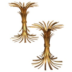 Pair of Gilt Metal Sheaf of Wheat Tables